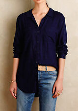 NEW Cloth & Stone Anthropologie Estes Navy Blue Flannel Shirt M $98 NWT