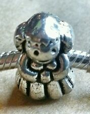 1 Antique Silver Little Girl Daughter Dress & Pigtails 3D European Charm for MOM
