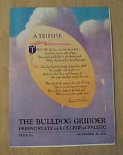 "1945 WWII Tribute Program~""FRESNO STATE vs. COLLEGE of PACIFIC""~Bulldog Gridder~"