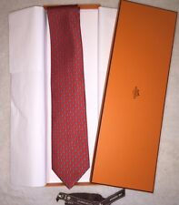 "Authentic Hermes Mens Boston 8cm Silk Tie ""Davy Crocket"" Red Raccoon Beaver SAVE"