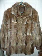 "Ladies soft real beige Bisam Mink fur coat bust 44"" size 16 length 31"" vgc"