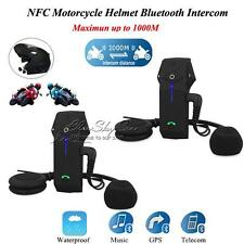 2X New FDC Motorcycle Motorbike Helmet Bluetooth 1000M Intercom Headset NFC Tech