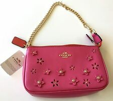 Authentic Coach Large Pink Leather Wristlet Floral Applique F65471 NWT- $195