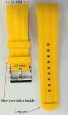 24 mm One Men Yellow Silicone Band Fit/Nautica Watch N18599G A18599G NST 101 100