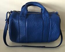 New Alexander Wang Rocco Cobalt Blue Pebbled Leather Rhodium Satchel Bag Handbag