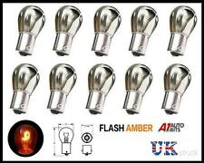 10 CHROME SILVER AMBER REAR INDICATOR BULBS 581 BA15S PY21W TURN SIGNAL S25 12V