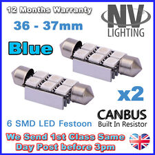 2 x 36/37mm NUMBER PLATE INTERIOR LIGHT FESTOON BULB 6 SMD LED Error Free - BLUE