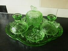 "Sowerby Art Deco Green Glass ""Butterfly"" Dressing Table Set Pattern no 2553"