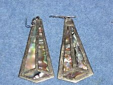 Vintage Alpaca Abalone Earrings Hallmarked Alpaca Mexico Large Handcrafted Latin