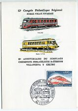 CARTE PHILATELIQUE 12 CONGRES ST ETIENNE  1974 TRAIN TGV TALGO RAME ETG