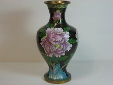 "Cloisonne Enamel Black Vase, Copper/Brass, Peony Flowers, 10"", Chinese, Vintage!"