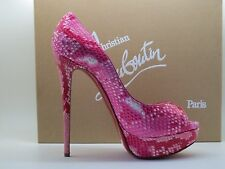 $1795 Christian Louboutin Lady Peep Rose Matador Python Platform Pumps Shoes 39