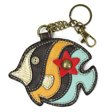 Chala Tropical Fish Whimsical Inspired Key Chain Coin Purse Leather Bag Fob Char
