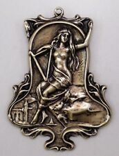 #3396 ANTIQUED GOLD MYTHOLOGICAL LADY DESIGN BROOCH - 1 Pc Lot