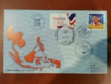 ASEAN Community Thailand Joint FDC n Thaipex 2015 label stamp autographed