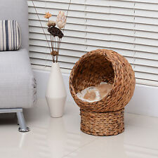 PawHut Wicker Rattan Elevated Cat House Bed Kitty Condo Play Pet Furniture Mat