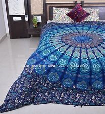 Indian Reversible Duvet Cover Cotton Handmade Mandala Quilt Cover Queen Size