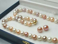 7-8mm White/Pink/Purple Akoya Cultured Pearl 14K GP Necklace 18'' Earring