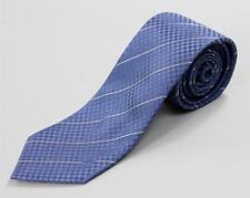 Louis Vuitton Paris Petit Damier Blue Tonal Check Striped Monogram 100% Silk Tie
