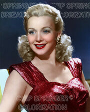 CAROLE LANDIS WEARING A DEEP RED GOWN BEAUTIFUL COLOR PHOTO BY CHIP SPRINGER