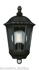 Outdoor Wall Light Half Wall Lantern PIR Brushed Black and Silver Finish -ZAGREB