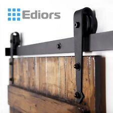 6.6Ft Dark Coffee Rustic Steel Sliding Barn Wood Door Hardware Track Set Kit