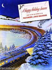 1930s Christmas Baltimore Ohio Vintage Railroad Travel Advertisement Poster