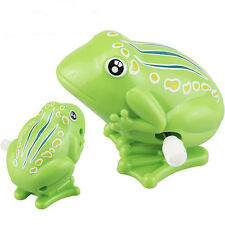 Best Wind up Frog Plastic Jumping Animal Classic Educational Clockwork Toys TO