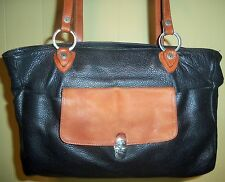 VALENTINA Large Black Pebble Leather Tote Career Shoulder Bag w/Tan Leather Trim