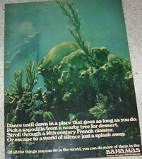 1971 print ad - Bahamas Island vacation travel diving girl underwater Vintage AD