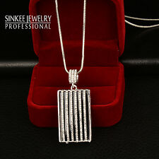 Gorgeous Rhinestone Black Square Pendant Long Necklace White Gold Chain My413