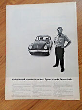 1969 VW Volkswagen Bug Ad Takes a Week to Make the Car 3 Years to Make Mechanic