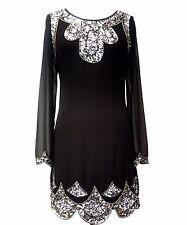 New Black 1920's Gatsby fully embellished shift dress sizes 16