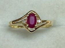 Estate Oval Cut Ruby & Diamond Accents Ring 18K Yellow Gold Size 4