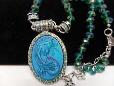 KIRKS FOLLY LORELEI DIVA MERMAID MAGNETIC TEAL AURORA BOREALIS NECKLACE! NEW!