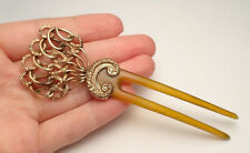 VICTORIAN HAIR STICK COMB FORK ANTIQUE BEAUTIFUL GOLD FILLED RARE