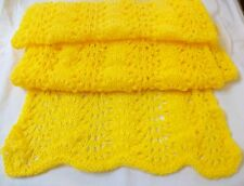 LADY'S WOMEN HAND KNITTED SCARF SHAWL BRIGHT YELLOW