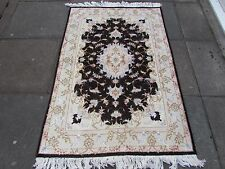 Fine OLD Traditional Hand Made PERSIAN Rug Wool Silk Black Carpet Rug 155x103cm