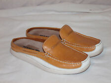 Womens SEBAGO Docksides St Maartens Tan White Slip On Mules Boat Deck Shoes 6