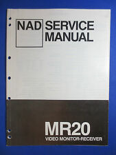 NAD MR20 VIDEO MONITOR RECEIVER SERVICE MANUAL ORIGINAL FACTORY ISSUE