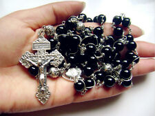 Rare Sterling 925 Silver Rosary Beads  Cross black Carnelian Necklace Gift Box