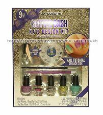L.A. COLORS 9pc Nail Polish GLITTER BASH Art Design Kit GEMS+BRUSH+MORE Holiday