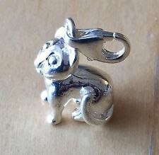 BEAUTIFUL SILVER CAT SITTING CLIP ON CHARM FOR BRACELETS - 3D -925  SILVER PLATE