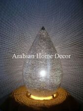 "Handcrafted Moroccan Silver Plated Brass 16""Height Table Lamp Light"