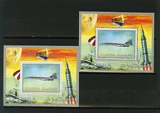 FUJEIRA 1971 Mi#,Bl.43A,B SPACE/AVIATION 2 S/S PERF. & IMPERF.MNH