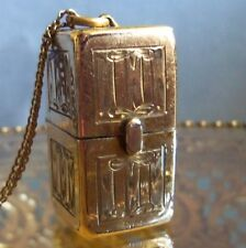 Victorian Lindroff AA CO Gold Filled Box.Locket,Casket Pendant Necklace opens