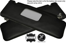 BLACK STITCHING 2X SUN VISORS LEATHER COVERS FITS MERCEDES 190 W201 1982-1993