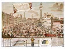 Palio di Siena, 1717 Piazza del Campo di notte. Stampa dipinta a mano cm. 60x80