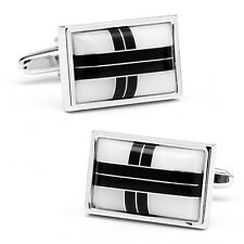 "Mother of PEARL & ONYX ""Cross Roads"" CUFFLINKS by Ox & Bull-New in Box-70% off!"