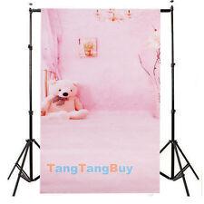 3x5ft Pink wall Bear Child Photos Studio Vinyl Photography Backdrop Background